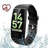 Fitness Tracker, Herzfrequenz Armband Aktivitätstracker, Schlafmonitor, GPS Schrittzähler mit 0,96 Zoll OLED-Farb-Touchscreen, 8 wechselbare Ziffernblätter, IP67 wasserdicht für iOS und Android-Schwarz