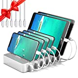 JZBRAIN Station de Charge 6 USB Chargeur Multi USB Ports avec Interrupteur, Station de Recharge Chargeur USB Multiple Support de Charge pour Samsung Smartphones Tablettes, 6 câbles Inclus, Blanc