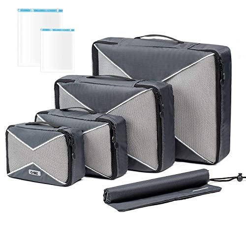 Ensemble de 4 Cubes d'Emballage, Organisateur de Voyage en Maille avec Sac à Linge/Sac à Chaussures et 2 sacs de Compression à Économie d'Espace, 4Cubes + 2Pochettes