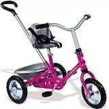Dreirad Fahrrad 2 in 1 mit abnehmbarer Schiebestange aus Metall, Kettenantrieb, mit Sicherheitsgurt und Kippwanne, Pedal-Freilauf und Lenkeinschränkung, Pink Baby Trike, Schiebewagen ab 16 Monate Zooky Rosa, höhenverstellbarer Sitz Kinder Schubstange Pink