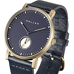 Meller Unisex Maori Balk Marine Minimalist Watch with Navy Analogue Display and Leather Strap