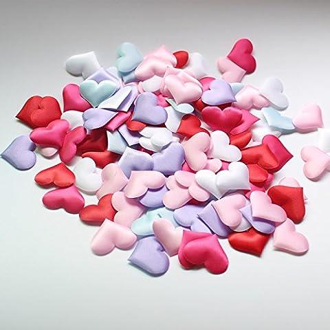 SwirlColor 200 pezzi 35 millimetri imbottite tavolo di feltro Cuore di Applique Wedding la decorazione del cuore, fai da te materiali realizzati a