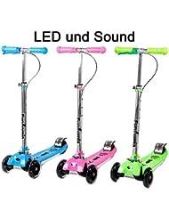 Fun tomia LED niños Roller Patinete Cruiser Kick Jump City Roller en 3colores y plegable con LED Luz y Sonido rosa rosa