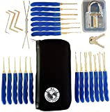 P.I. Home Store 28-piece Premium Lock Pick and Key Extractor set. With Transparent locksmith practice padlock , picking tools, key removal hooks and training lockpick guide book