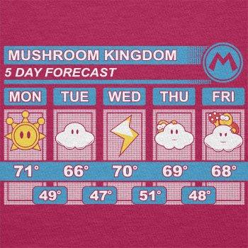TEXLAB - Mushroom Kingdom Weather Forecast - Damen Kapuzenpullover Fuchsia