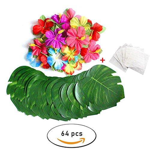 AOLVO künstlichen Palm Leaf Girlande, 60/64/88PCS Palm Leaf Party Supplies einschließlich kleinen Faux Fensterblätter Palmblatt, Hibiskus und Bonus Dot Klebstoffen für Hawaiian Luau Party Tischdekorationen 64 Pcs
