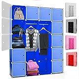 Kesser® DIY Kleiderschrank Schrank Steckregal ✓ Schuhschrank ✓ Regalsystem ✓ Garderobe | Belastbar | Größe: 20 Boxen / 1000 Liter | Farbe: Blau