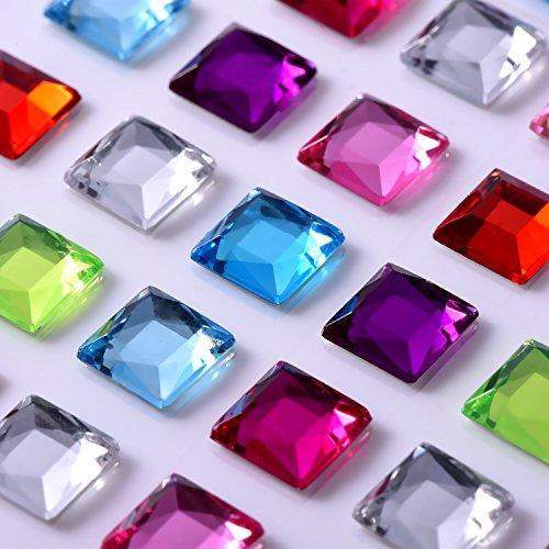 9 Fogli strass Autoadesivo Adesivi Cristallo Gemma Fogli per Fai Da Te Bricolage Decorazione, Colori Assortiti, Quadrato, Rotondo e a Forma di Cuore - 3