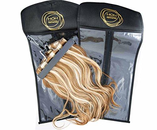 Haar-clip-cover (Haarverlängerungs Hänger. Ein Haar- Kleiderbügel von Hairoverheel mit praktischer und staubdichter Lagertasche, schwarz, für Clip-in Extensions Echthaar, Virgin Haar und Haarverlängerungen aller Art. Die Schutztasche wird geliefert mit einem schwarzen Hänger und einer dazugehörigen Lagertasche)