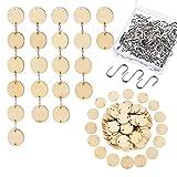 100 Stück Holz Tags mit 2 Löcher Runde Holzscheiben und 100 Stück S Haken Connectors für Geburtstag Boards, Chore Boards und Kunsthandwerk