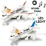 alles-meine GmbH Flugzeug aus Metall -  mit Sound / Geräusch + Licht - Zum Aufziehen & Fahren ..