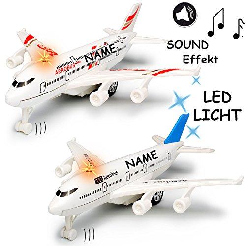 alles-meine.de GmbH Flugzeug aus Metall -  mit Sound / Geräusch + Licht - zum Aufziehen & Fahren / mit Rückzug - bunter Farb-Mix  - inkl. Name - Aufziehfahrzeug / Aufziehspielz..