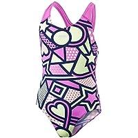 Speedo Bañador para niñas Solar Tribe, diseño Completo, Espalda Abierta Cruzada, niña, Color Navy/Orchid/Lemon Sorbet, tamaño 34