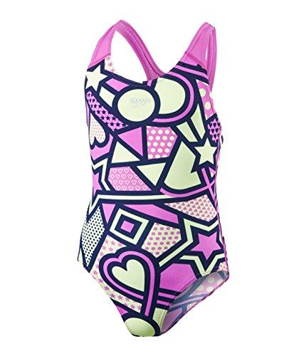 Speedo Mädchen solar Tribe Allover Splashback Badeanzug, Mädchen, Solar Tribe Allover Splashback, Navy/Orchid/Lemon Sorbet, 152