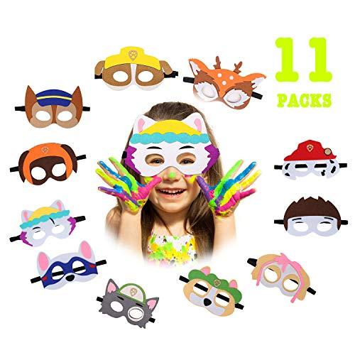 QIMMU Máscara de Cosplay para Niños Mascarillas de Espuma Mascarilla Animal Cosplay Máscaras de Fiesta para Bolsas de Fiesta de cumpleaños, Navidad, Halloween 11PCS