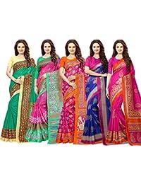 Vashtram Women's Bhagalpuri Silk Saree with blouse piece (Multi-Coloured_BL333_Pack Of 5)
