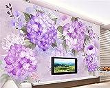 HHCYY Schöne Mode 3D Wandpapier Pastoralen Handbemalt Lila Retro Hortensie Sofa Tv Hintergrund Wand350cmx245cm
