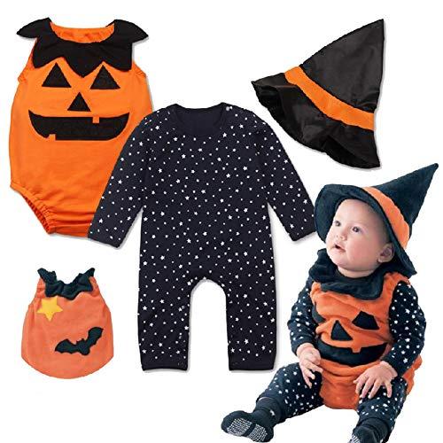 (Halloween Kostüm Kürbis Overall + Hut 3 Stück Set Performance Kleidung Kinder Herbst Kinder)