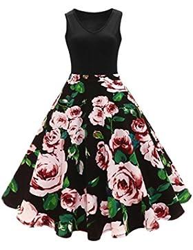 Vestido plisado de cintura alta sin mangas floral Vintage Hepburn de las mujeres Vestidos Para Mujer Vintage Elegantes...