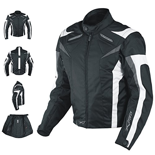 A-Pro Motorcycle Jacket CE Armored Textile Motorbike Racing Thermal Liner White S (Jacke Motorrad)