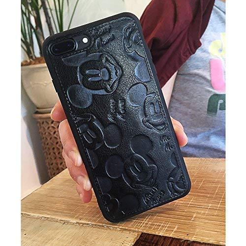 Apple iPhone 6Plus Einzigartige Mickey Maus Silikon Fall mit Einem Gratis Klar gehärtetem Glas 9H Härte High Definition Kratzfest Displayschutzfolie-Schwarz (Gratis Mickey-maus)