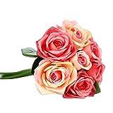 Fami 9 têtes de soie artificielle fleurs fausses feuilles rose mariage décoration florale bouquet (Pastèque Rouge)