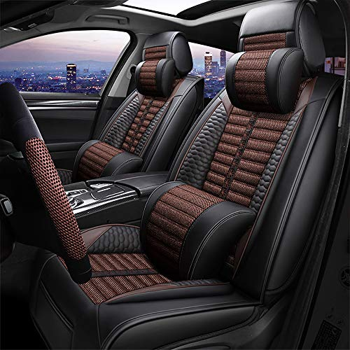 OYDA Leinen Autositzbezug Sommer Atmungsaktiv Cooles Leder Vier-Jahreszeiten-Sitzbezug Sitzbezug Für die meisten Fünfsitzer-5