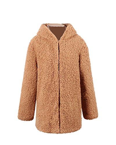 Yuandian donna autunno inverno casuale lunga cappotto di pelliccia ecologica con cappuccio baggy tinta unita morbido caldo elegante sintetica pellicce giacca giubbino cammello chiaro s