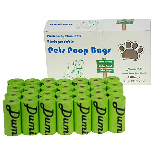 Dumi pets sacchetti per escrementi del cane, 420 pezzi, ecologici e biodegradabili, a prova di perdite, extra large, spessi e forti (verde)