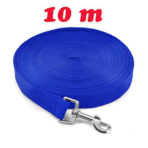 Ploopy Stabile Schleppleine für das Hundetraining, Hunde Ausbildung Gehorsam Seil, Hundeleine / Laufleine / Schleppleine / Fährtenleine / Suchleine 10 M Blau