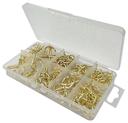 3Sortiment vermessingt Tasse Haken und Dresser Haken in eine 10fach Tragetasche. ()