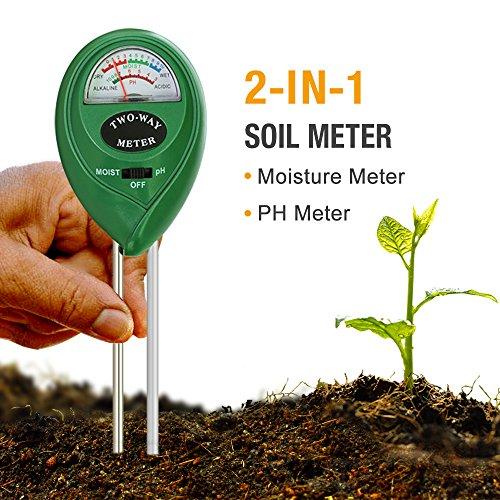 Galleria fotografica Mooncity 2-in-1tester di umidità del terreno sensore tester e tester PH acidità, pianta, ideale per giardino, fattoria, prato, interno e esterno (non richiede batteria)