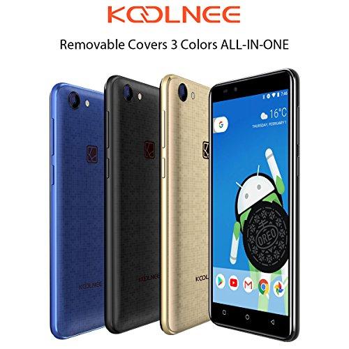 KOOLNEE Rainbow 3 Farben ALL-IN-ONE, 3G Sim Kostenloses Handy, 5 Zoll HD +, Android 8.1, 1,3 GHz Quad Core, 1 GB RAM + 8 GB ROM, Dual-Kameras (vorne: 5MP hinten: 8MP), 2400mAh Akku, Dual Sim Entsperrtes Smartphone (Back Case in Schwarz, Blau, Gold)