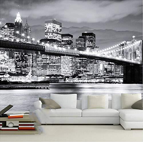 zhimu Papier Peint Murale Moderne Murale Créative Vue De Nuit Pont De Manhattan New York Villes Européenne Et Américaine Noir Et Blanc Salon Toile De Fond Papier Peint250cmx175cm
