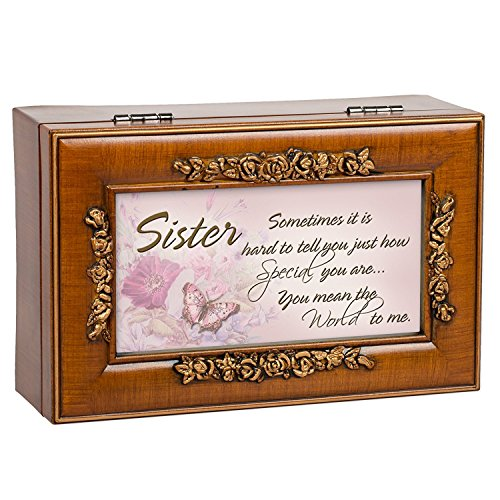 Special Sister Holz-Finish Rose Trim dekorativen Schmuck Musik Box, You Are My Sunshine, 6 x 4 inches -