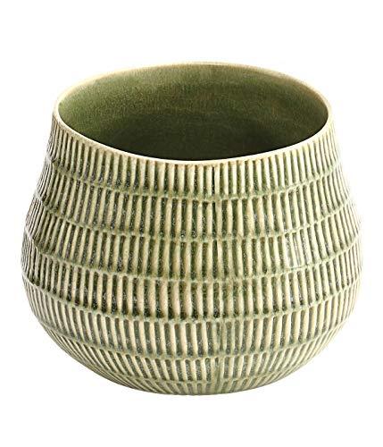 Dehner Blumentopf, Ø 14 cm, Höhe 15 cm, Keramik, lasiert, hellgrün -