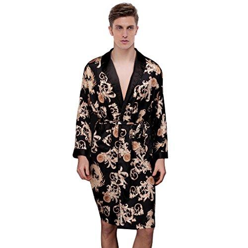 Waymoda Men's Luxury Silky Satin Evening Dressing Gown, Male Classic Dragon Fern Leaf Pattern Kimono Wrap Robe, Black Colors, 3 Sizes Optional - Long style