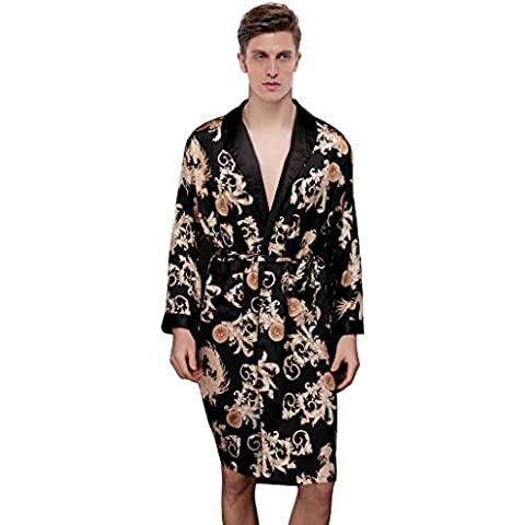 Waymoda Vestido de noche de satén de seda de lujo de los hombres, varón clásico del phoenix del dragón de la hoja del helecho de la hoja del abrigo del kimono, colores negros, 3 tamaños - Long