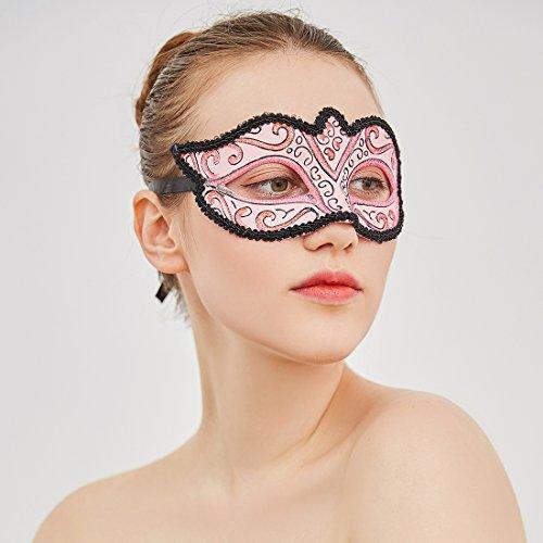 yufeng Party Masquerade Maske Halb Frau Maske Venedig Handgefertigt für Mardi Gras Party Zubehör Rose (Gras Feather Masken Mardi)