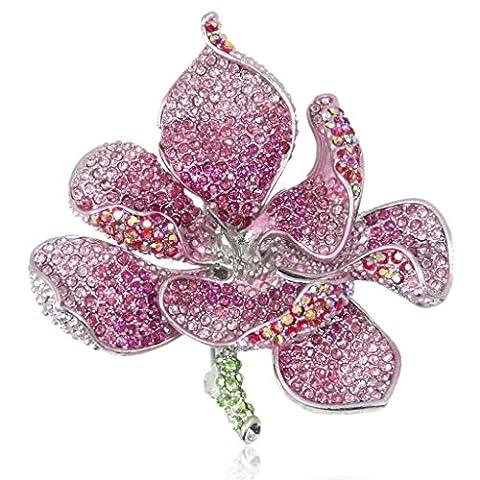 EVER FAITH Damen österreichische Kristall Valentinstag Geschenk Orchid Blume Blütenblatt Brosche Pink Silber-Ton