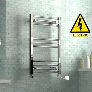 iBathUK 800 x 500 mm Electric Curved Towel Rail Radiator Chrome Heated Ladder