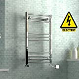 800 x 500 mm Electric Curved Towel Rail Radiator Chrome Heated Ladder