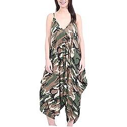 Femmes Harems Col V Harems Robe Combinaison Tout En Un Barboteuse Grande Taille Pour Femmes - Militaire, 44/46