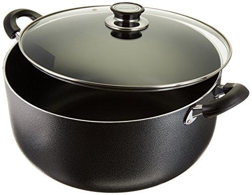 Uniware Non-Stick Aluminum Stock Pot With Glass Lid,Black (16 QT) 16 Quart Stock Pot