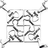Gudeke - Colgante para buenos amigos con forma de puzzle de corazón que se puede separar en cuatro partes, juego de joyería, joyería para hermanas