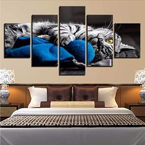 Pmhhc Kunstwerk Hd Druckt Leinwand Malerei Tier 5 Stücke Wandkunst Modularen Bilder Für Nacht Hintergrund Home Decor Poster-20X35/45/55Cm,With Frame