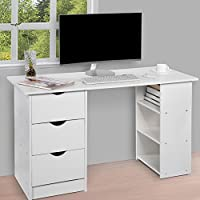 white home office desk. Computer Desk With 3 Drawers And Shelves, Home Office PC Table Workstation, White C