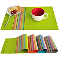 FOOKREN Sets de Table Lot de 4,sets de Table Lavables PVC Placemats Dining Table Sets Résistant à la Chaleur Antidérapant Napperons 45 * 30c D-20015 (Vert)