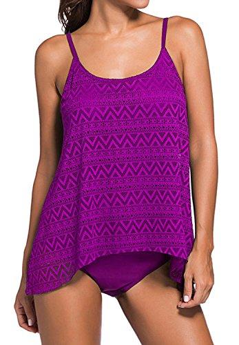 YuanYan Damen Sportlich Tankini Top Bandeau Bikini Sets Zwei Stück Beachwear Gepolstert Badeanzug Lila