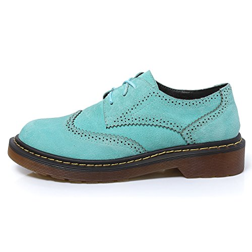 Smilun Chaussures Femme Brogues Richelieu Derby Cuir Nubuck Plat Bout Rond Turquoise